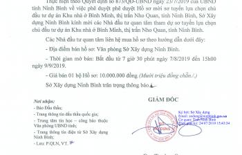 Thông báo mời sơ tuyển lựa chọn chủ đầu tư thực hiện dự án Nhà ở Bình Minh thị trấn Nho Quan huyện Nho Quan